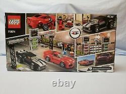 2016 Lego Speed Champions Chevrolet Camaro Drag Race Black Red 445 Pieces 75874