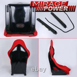 Car Pair Of JDM Style Light Weight Racing Bucket Seats Red Black Civic Integra