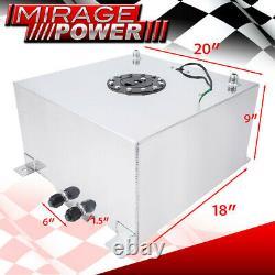 Chrome Aluminum Racing Car Fuel Cell Tank 13 Gallon / 50 Liters + Gauge Sender