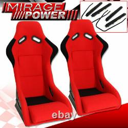 Full Bucket Automotive Car Racing Seats Spg Profi Style With Sliders Red Cloth