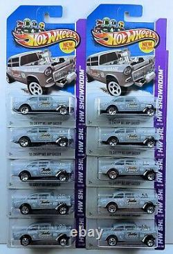 Hot Wheels 2013 Collector #190'55 Chevy Bel Air Gasser Primer Gray Lot of 10
