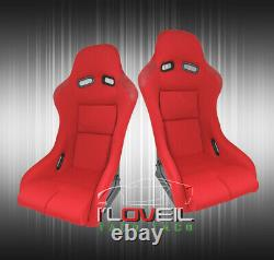 Low Max Style JDM Full Bucket Racing Automotive Car Seats With Sliders Red Cloth