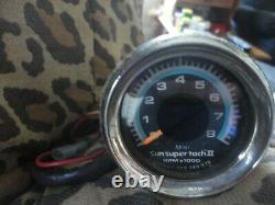 Old School Sun Super Tach II 8000 RPM Tachometer Hot Rod Muscle Car Tach