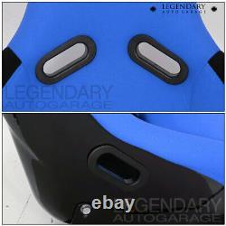Pair Bucket Racing Drift Automotive Car Seats Spg Profi Style Blue Black Cloth
