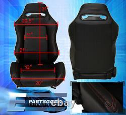 Reclinable Universal Bucket Seats Chairs Car Automotive Race Rail Sliders Black