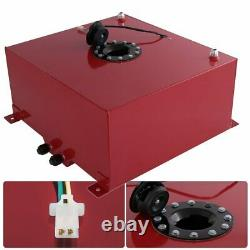 Red Aluminum Black Cap Car Fuel Cell Tank 13 Gallon / 50 Liters + Gauge Sender