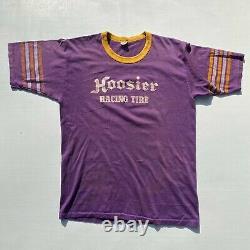 Vintage 1970s Hoosier Racing Tire Hot Rod Car Drag Race Club Tshirt Shirt