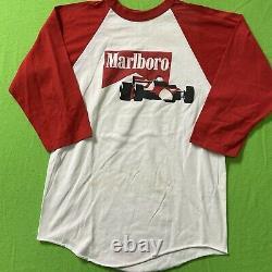 Vintage 80s Marlboro Racing T-Shirt F1 Drag Funny Car Raglan Size Medium Rare