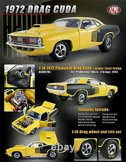 1972 Plymouth Hemi Cuda Vintage Drag Racing Jaune Noir 118 Acme A1806118 Gmp
