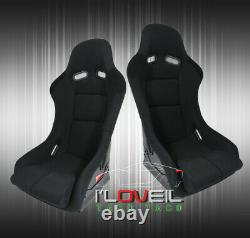 Black Cloth Full Firm Hold Bucket Car Racing Seats Side Mount Slider Rails Paire