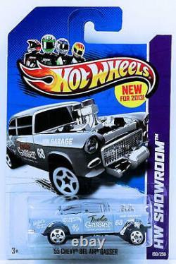 Hot Wheels 2013 Collector #190'55 Chevy Bel Air Gasser Primer Gray Lot De 10