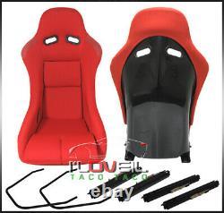 Low Max Style Jdm Full Bucket Racing Sièges D'auto Automobiles Avec Curseurs Tissu Rouge