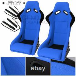 Paire Bucket Racing Drift Automotive Sièges D'auto Spg Profi Style Blue Black Cloth
