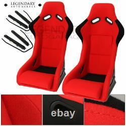 Paire Bucket Racing Drift Automotive Sièges D'auto Spg Profi Style Red Black Cloth