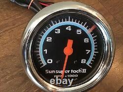 Vieille École Sun Super Tach II 8k Tachomètre Chaud Tige Muscle Voiture Accessoire Tach