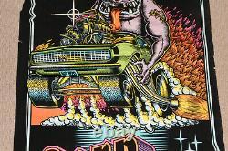 Vintage Naissance De Drag Black Light Felt Western Graphics #820 Poster Car Racing